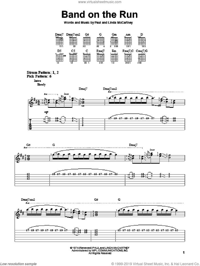 Band On The Run sheet music for guitar solo (easy tablature) by Paul McCartney, Paul McCartney and Wings and Linda McCartney, easy guitar (easy tablature)