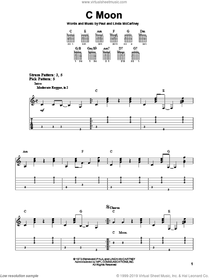 C Moon sheet music for guitar solo (easy tablature) by Paul McCartney and Linda McCartney, easy guitar (easy tablature)
