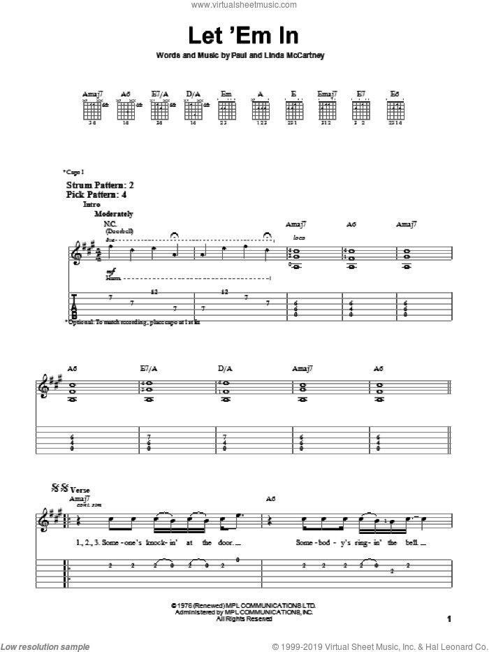 Let 'Em In sheet music for guitar solo (easy tablature) by Paul McCartney, Paul McCartney and Wings and Linda McCartney, easy guitar (easy tablature)