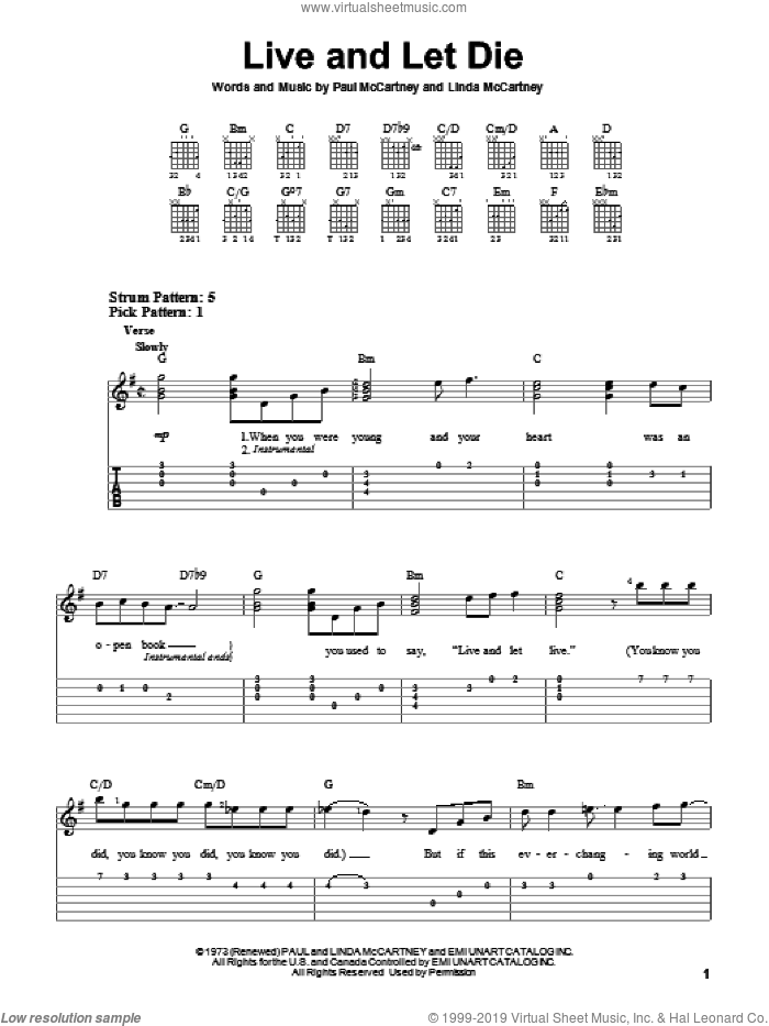 Live And Let Die sheet music for guitar solo (easy tablature) by Linda McCartney and Paul McCartney. Score Image Preview.