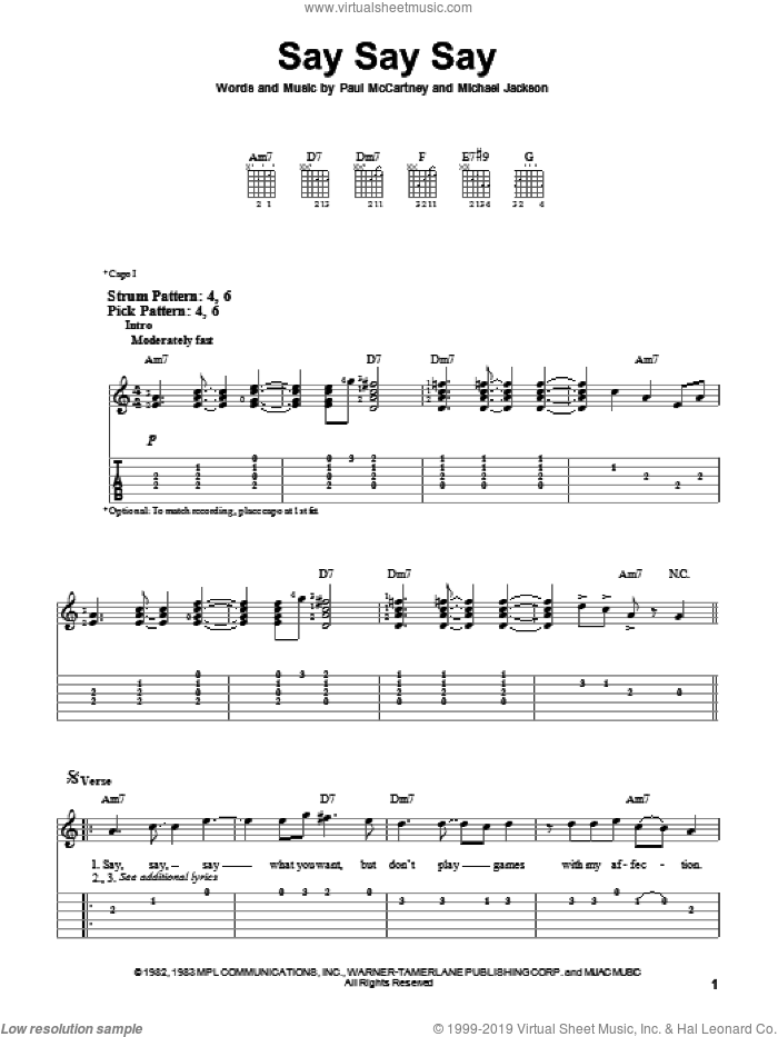 Say Say Say sheet music for guitar solo (easy tablature) by Paul McCartney and Michael Jackson, Michael Jackson and Paul McCartney, easy guitar (easy tablature)