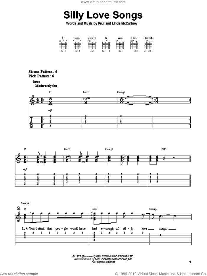 Silly Love Songs sheet music for guitar solo (easy tablature) by Paul McCartney, Paul McCartney and Wings and Linda McCartney, easy guitar (easy tablature)