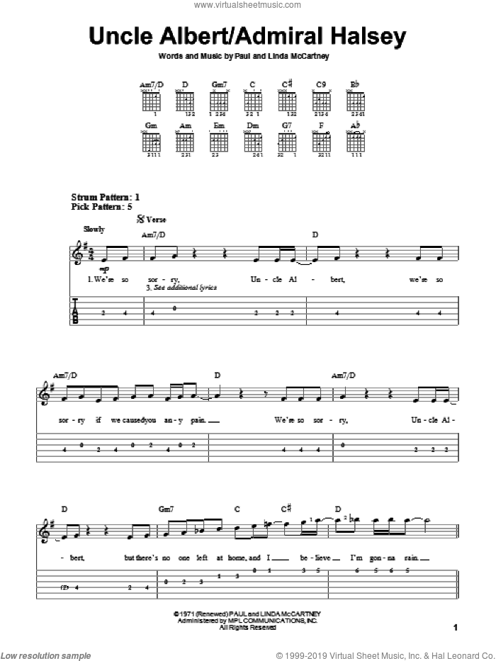 Uncle Albert / Admiral Halsey sheet music for guitar solo (easy tablature) by Paul McCartney, Paul McCartney and Wings and Linda McCartney, easy guitar (easy tablature)