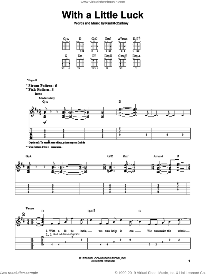 With A Little Luck sheet music for guitar solo (easy tablature) by Paul McCartney and Paul McCartney and Wings, easy guitar (easy tablature)