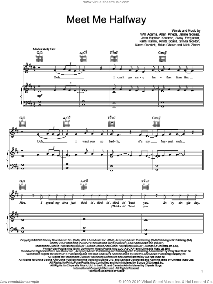 Meet Me Halfway sheet music for voice, piano or guitar by Black Eyed Peas, Allan Pineda, Brian Chase, Jaime Gomez, Jean-Baptiste Kouame, Karen Orzolek, Keith Harris, Nick Zinner, Priese Printz Board, Stacy Ferguson, Sylvia Gordon and Will Adams, intermediate skill level