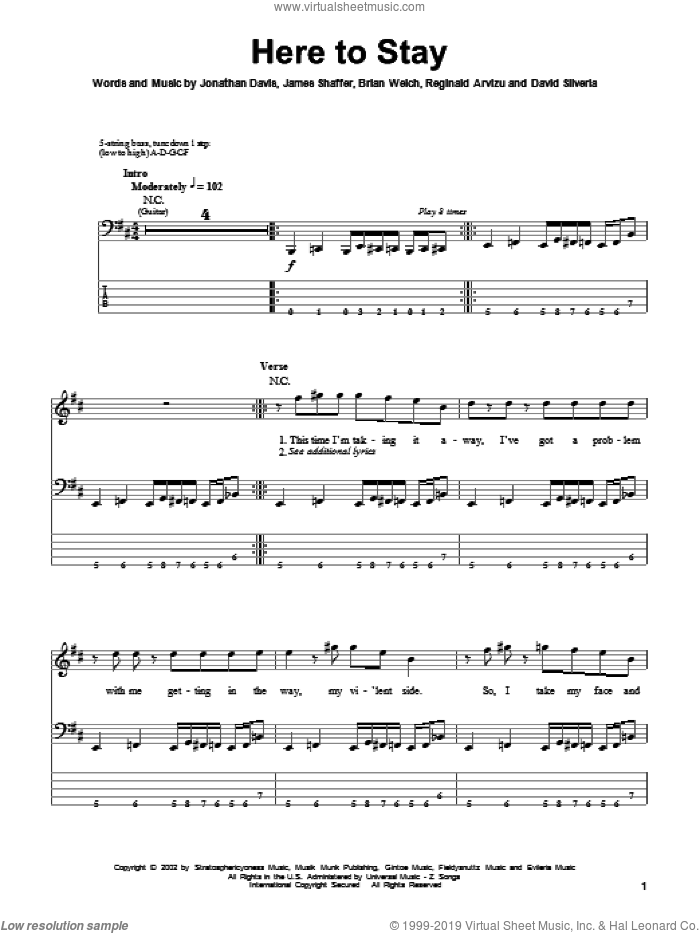 Here To Stay sheet music for bass (tablature) (bass guitar) by Korn, Brian Welch, David Randall Silveria, James Shaffer, Jonathan Davis and Reginald Arvizu