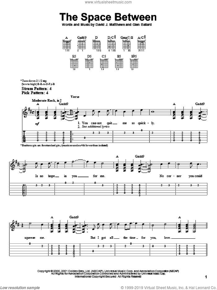 The Space Between sheet music for guitar solo (easy tablature) by Dave Matthews Band and Glen Ballard, easy guitar (easy tablature)