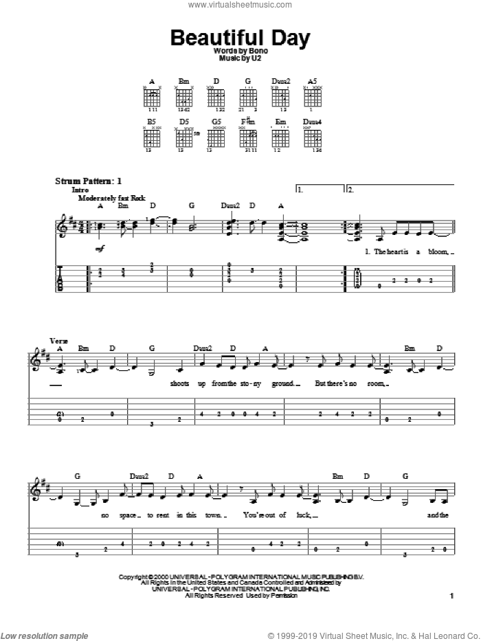 Beautiful Day sheet music for guitar solo (easy tablature) by U2 and Bono, easy guitar (easy tablature)