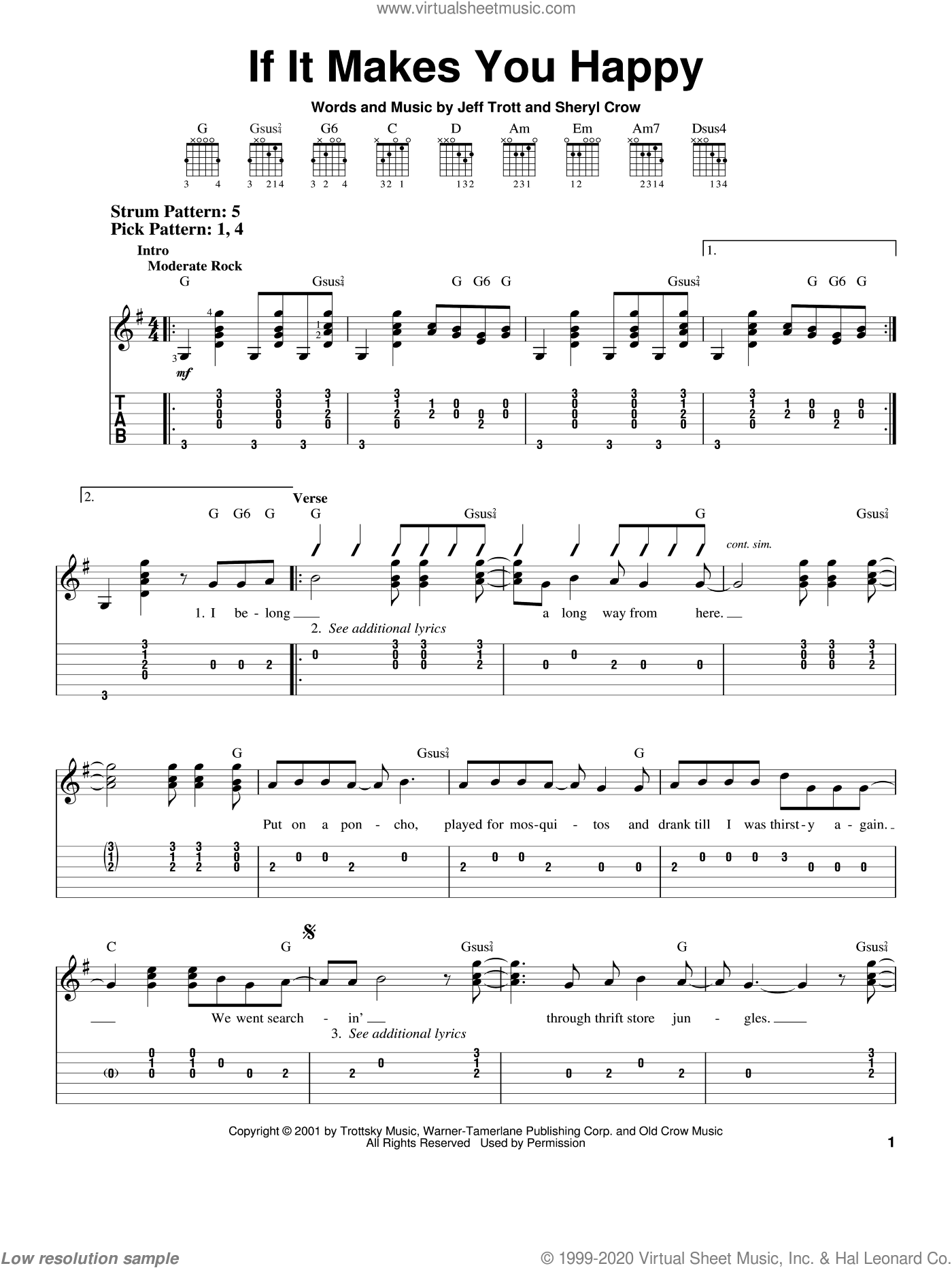 If It Makes You Happy sheet music for guitar solo (easy tablature) by Sheryl Crow and Jeff Trott, easy guitar (easy tablature). Score Image Preview.
