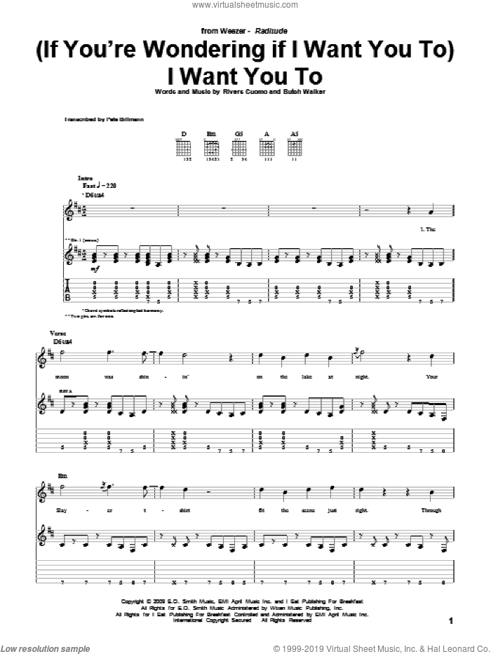 (If You're Wondering If I Want You To) I Want You To sheet music for guitar (tablature) by Weezer, Butch Walker and Rivers Cuomo, intermediate. Score Image Preview.