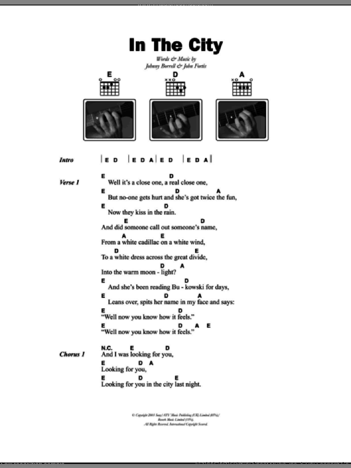 In The City sheet music for guitar (chords) by Johnny Borrell