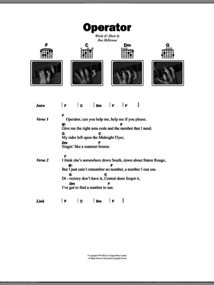 Operator sheet music for guitar (chords) by Grateful Dead, intermediate guitar (chords). Score Image Preview.