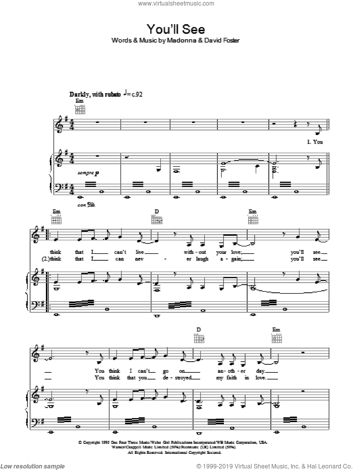 You'll See sheet music for voice, piano or guitar by Susan Boyle, David Foster and Madonna. Score Image Preview.