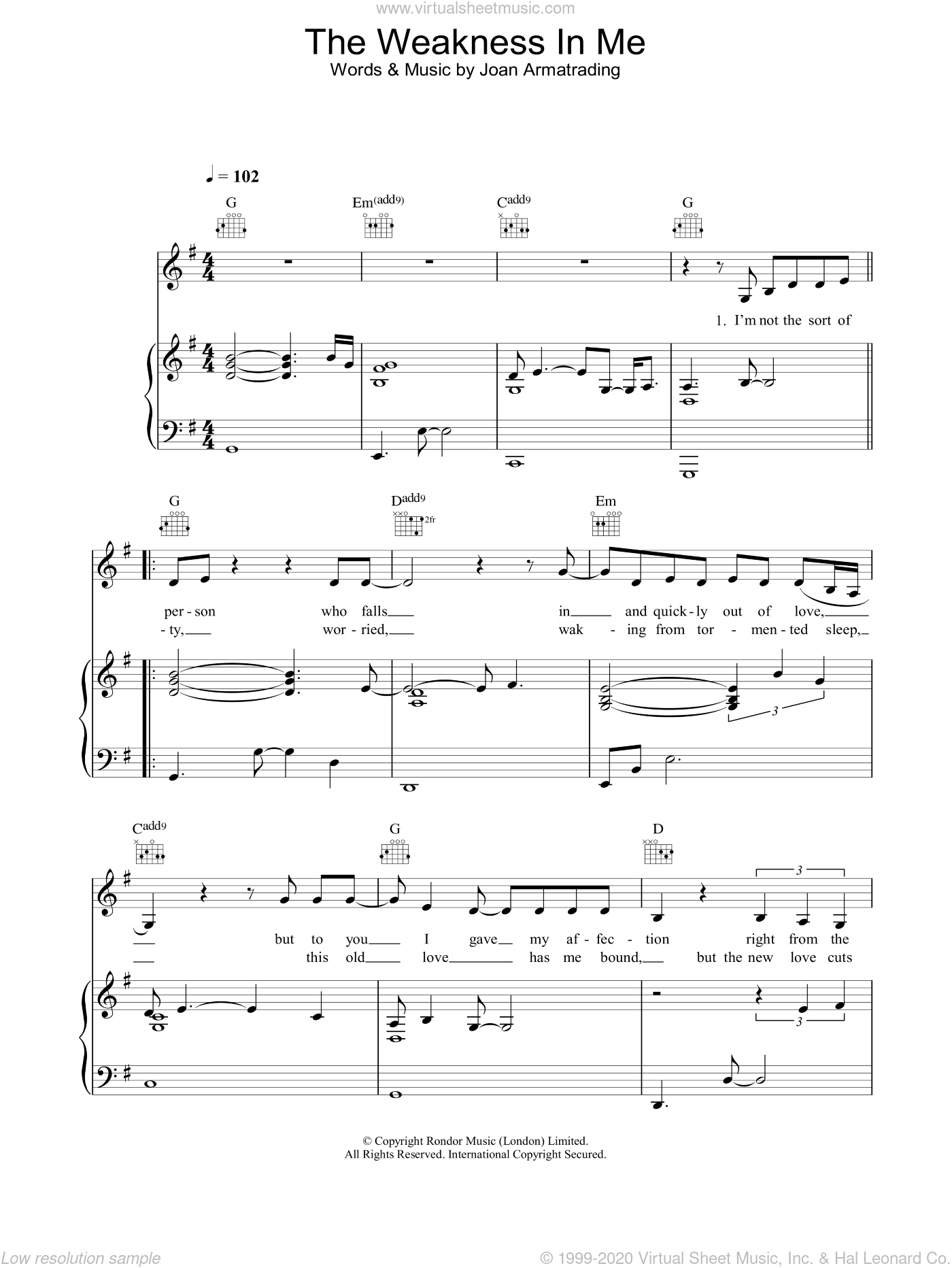 The Weakness In Me sheet music for voice, piano or guitar by Joan Armatrading, intermediate skill level