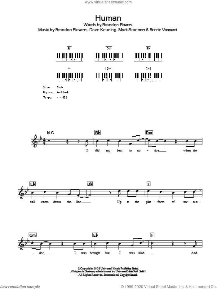 Human sheet music for voice and other instruments (fake book) by Ronnie Vannucci, The Killers, Brandon Flowers, Dave Keuning and Mark Stoermer. Score Image Preview.