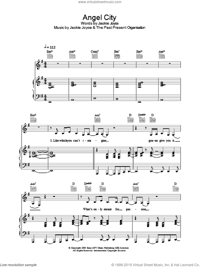 Angel City sheet music for voice, piano or guitar by Helicopter Girl