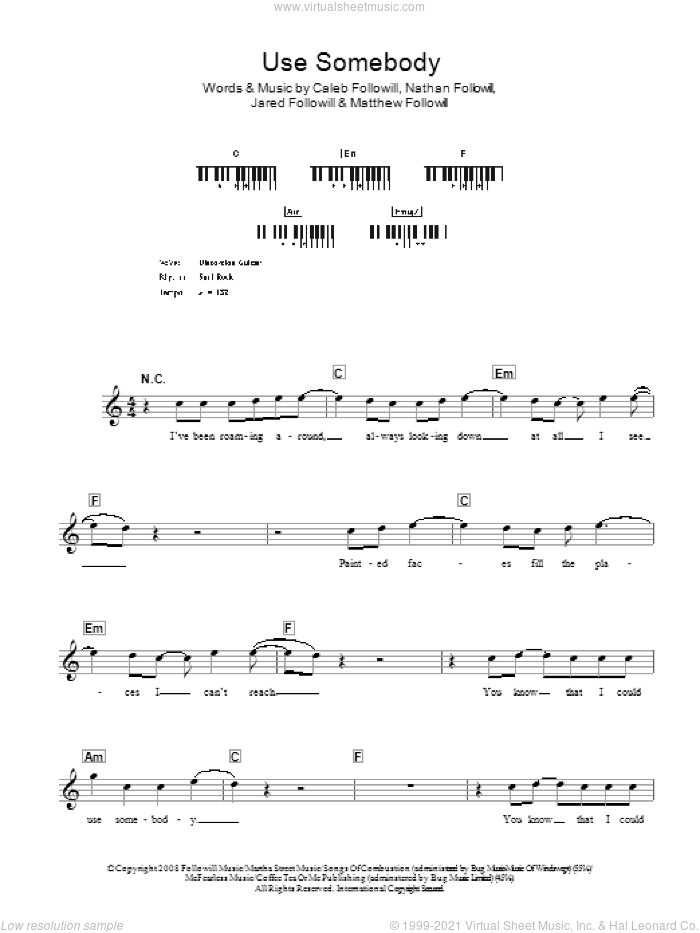 Use Somebody sheet music for voice and other instruments (fake book) by Nathan Followill, Kings Of Leon, Caleb Followill and Matthew Followill. Score Image Preview.