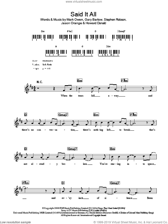 Said It All sheet music for voice and other instruments (fake book) by Take That, Gary Barlow, Howard Donald, Jason Orange, Mark Owen and Steve Robson, intermediate. Score Image Preview.