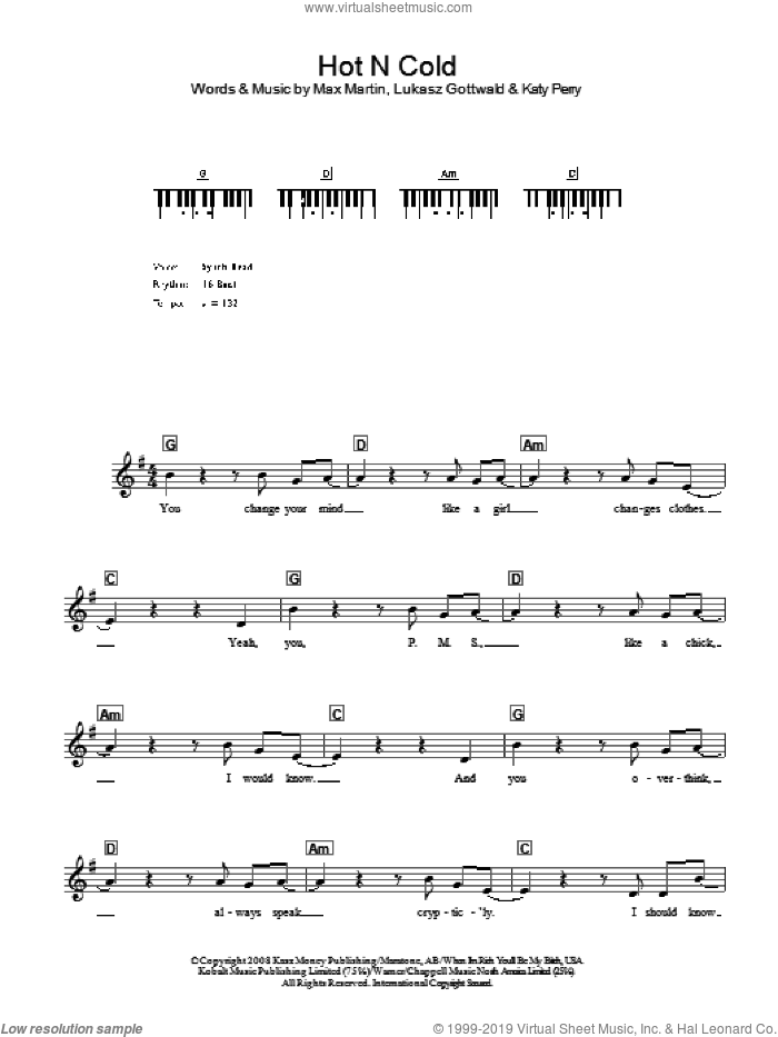Hot N Cold sheet music for voice and other instruments (fake book) by Katy Perry, Lukasz Gottwald and Max Martin, intermediate skill level