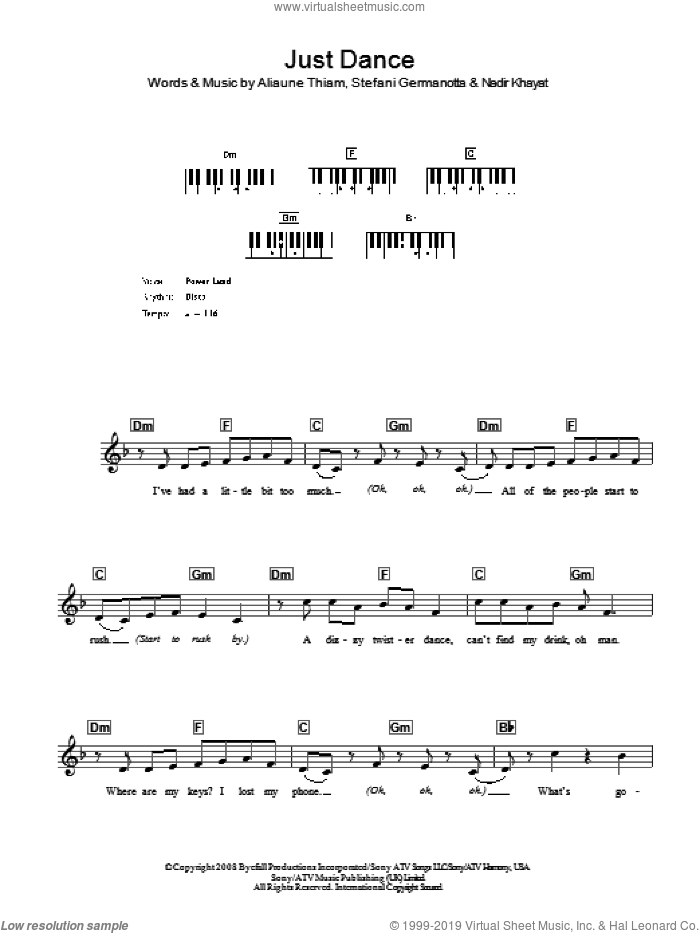 Just Dance sheet music for voice and other instruments (fake book) by Lady GaGa, intermediate voice. Score Image Preview.