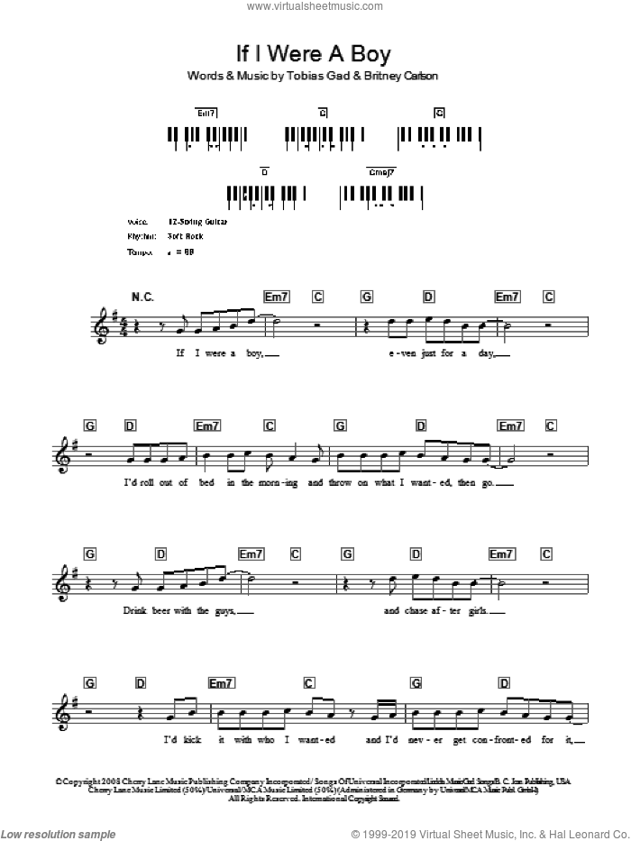 If I Were A Boy sheet music for voice and other instruments (fake book) by Toby Gad