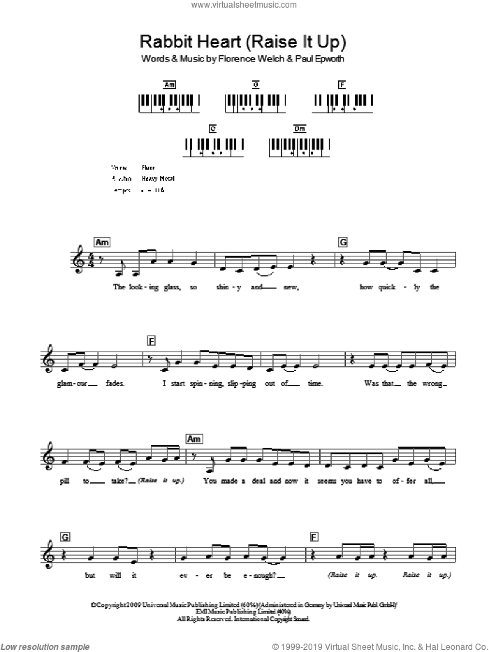 Rabbit Heart (Raise It Up) sheet music for voice and other instruments (fake book) by Florence And The Machine, Florence And The  Machine, Florence Welch and Paul Epworth, intermediate skill level
