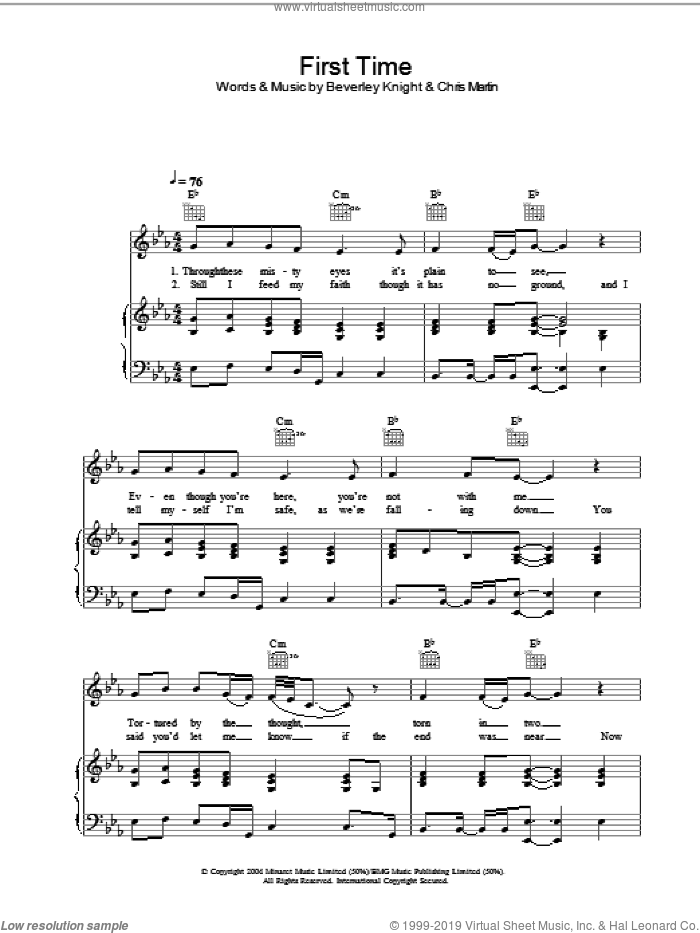 First Time sheet music for voice, piano or guitar by Beverley Knight, intermediate. Score Image Preview.