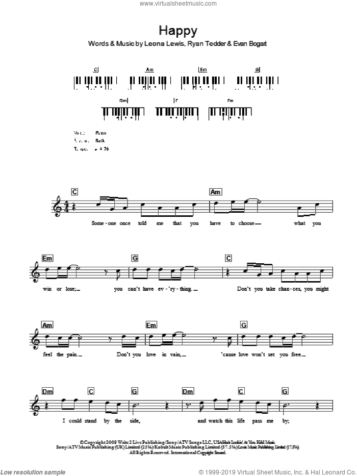 Happy sheet music for voice and other instruments (fake book) by Leona Lewis, Evan Bogart and Ryan Tedder, intermediate skill level