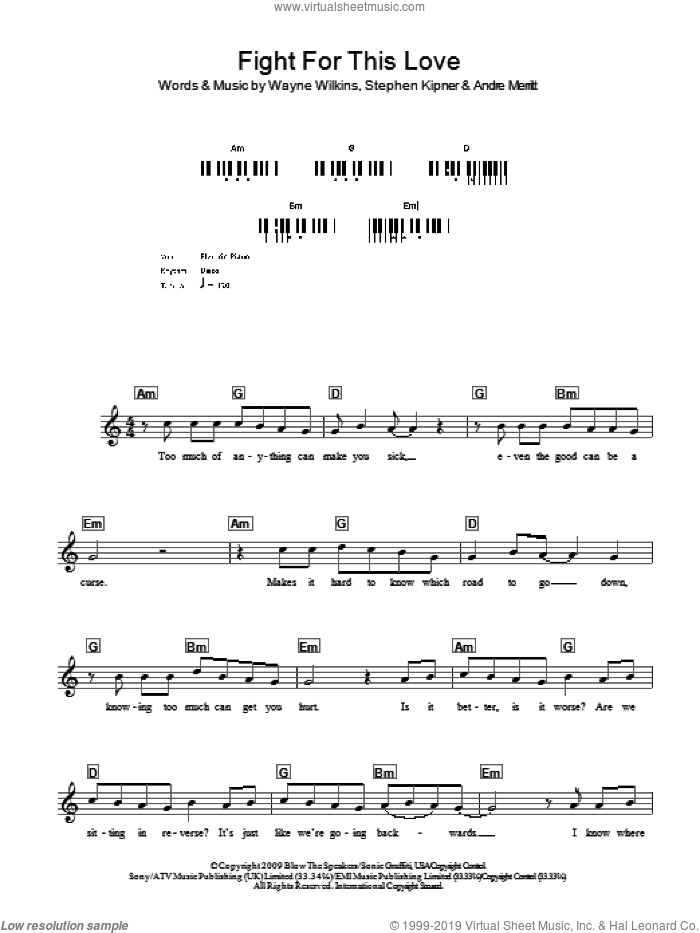 Fight For This Love sheet music for voice and other instruments (fake book) by Cheryl Cole, Andre Merritt, Steve Kipner and Wayne Wilkins, intermediate skill level