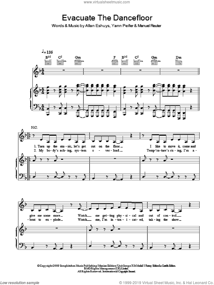 Evacuate The Dancefloor sheet music for voice, piano or guitar by Cascada, intermediate voice, piano or guitar. Score Image Preview.