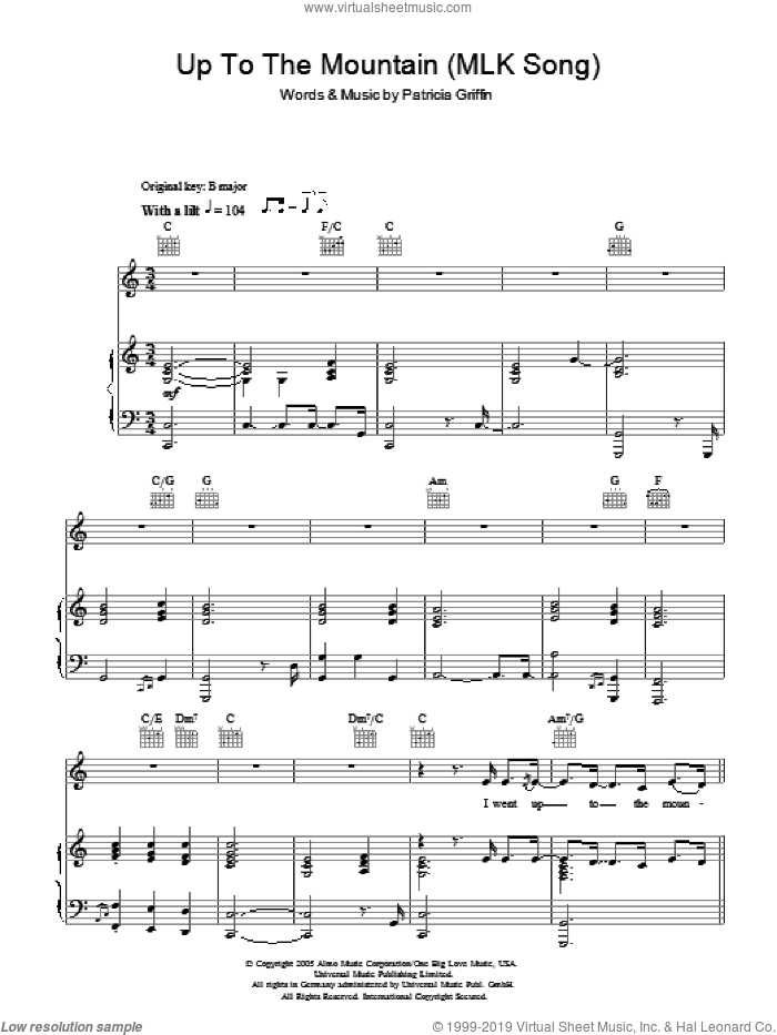 Up The Mountain (MLK Song) sheet music for voice, piano or guitar by Patty Griffin