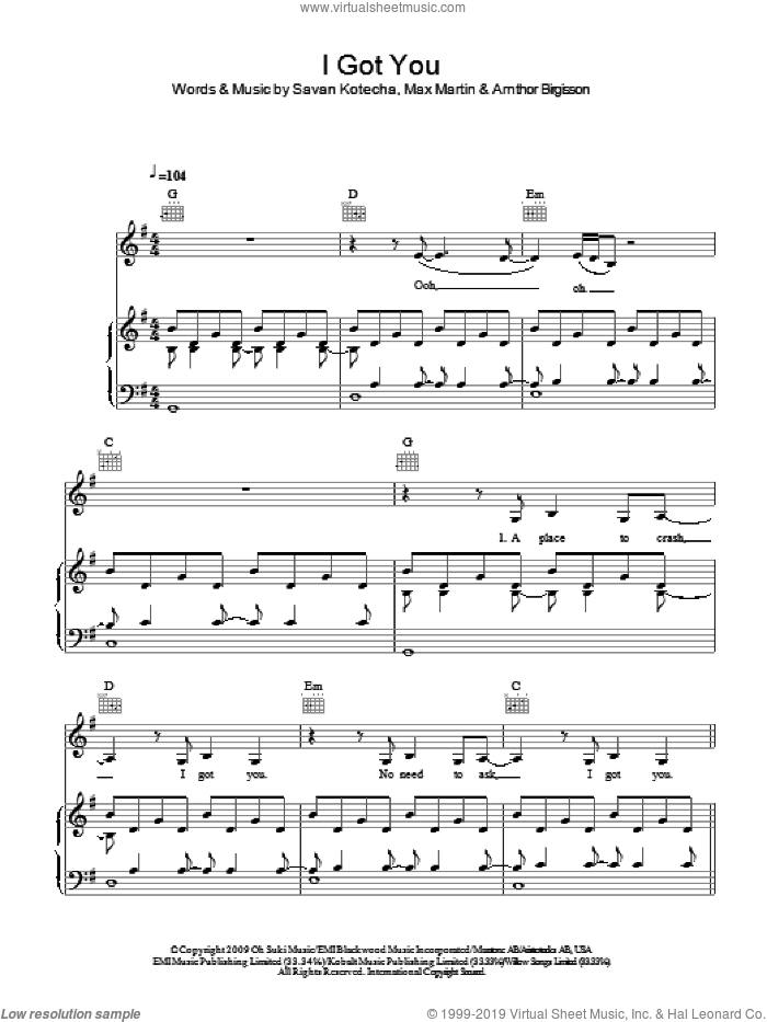 I Got You sheet music for voice, piano or guitar by Leona Lewis, Arnthor Birgisson, Max Martin and Savan Kotecha, intermediate. Score Image Preview.