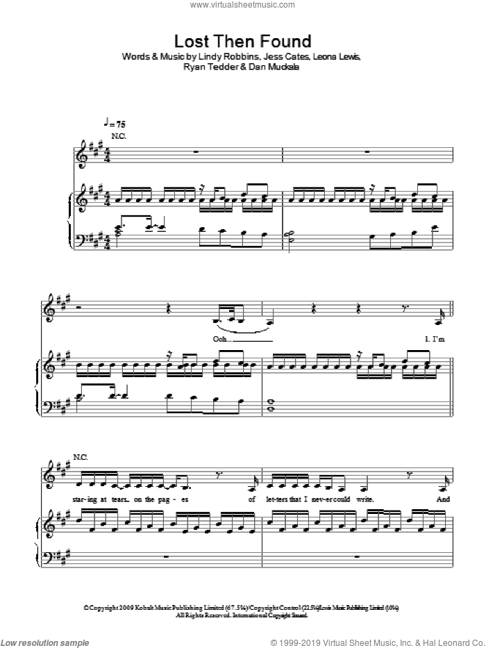Lost Then Found sheet music for voice, piano or guitar by Leona Lewis, Jess Cates, Lindy Robbins and Ryan Tedder. Score Image Preview.