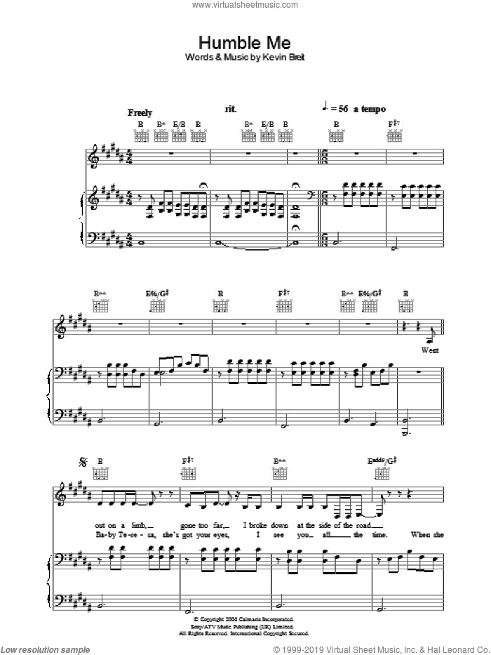 Humble Me sheet music for voice, piano or guitar by Norah Jones, intermediate skill level