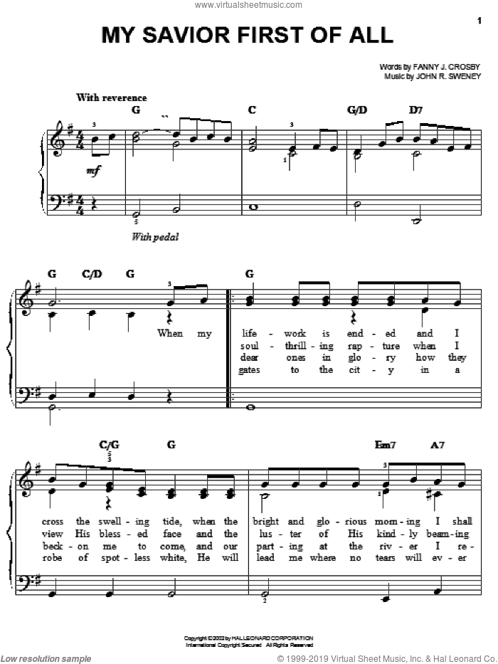 My Savior First Of All sheet music for piano solo by Fanny J. Crosby and John R. Sweney, easy skill level