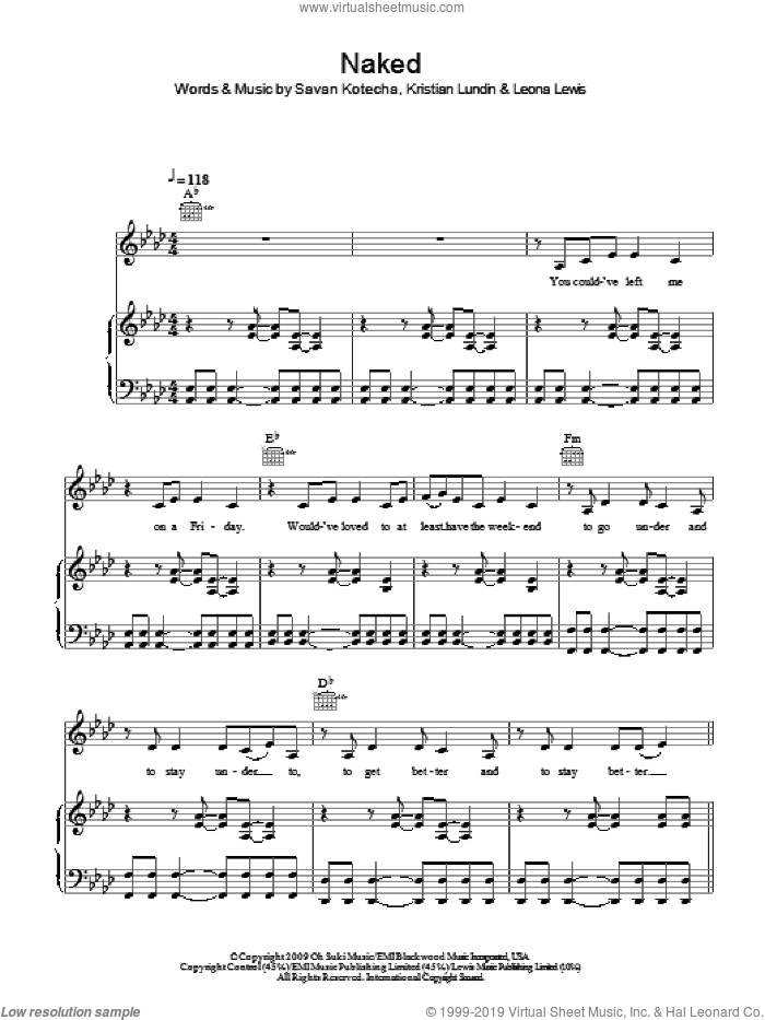 Naked sheet music for voice, piano or guitar by Leona Lewis, Kristian Lundin and Savan Kotecha, intermediate skill level