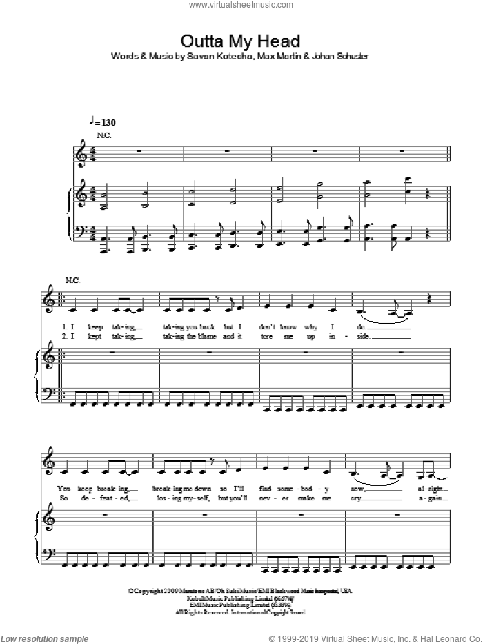 Outta My Head sheet music for voice, piano or guitar by Leona Lewis, Johan Schuster, Max Martin and Savan Kotecha, intermediate