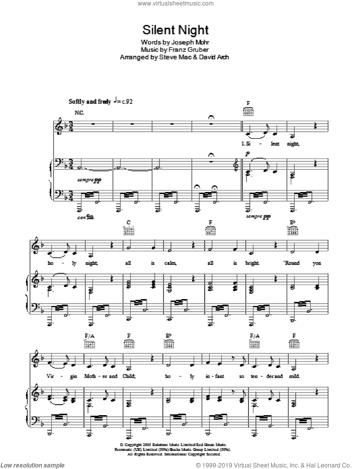 Silent Night sheet music for voice, piano or guitar by Susan Boyle, Franz Gruber and Joseph Mohr, intermediate skill level