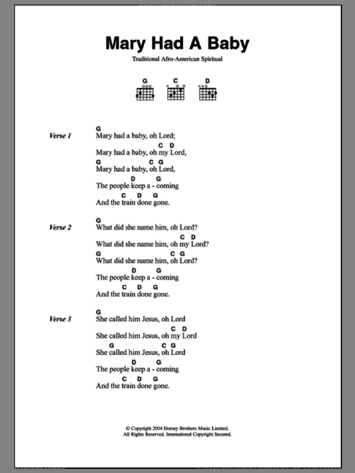Mary Had A Baby sheet music for guitar (chords). Score Image Preview.
