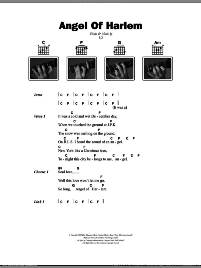 Angel Of Harlem sheet music for guitar (chords) by U2