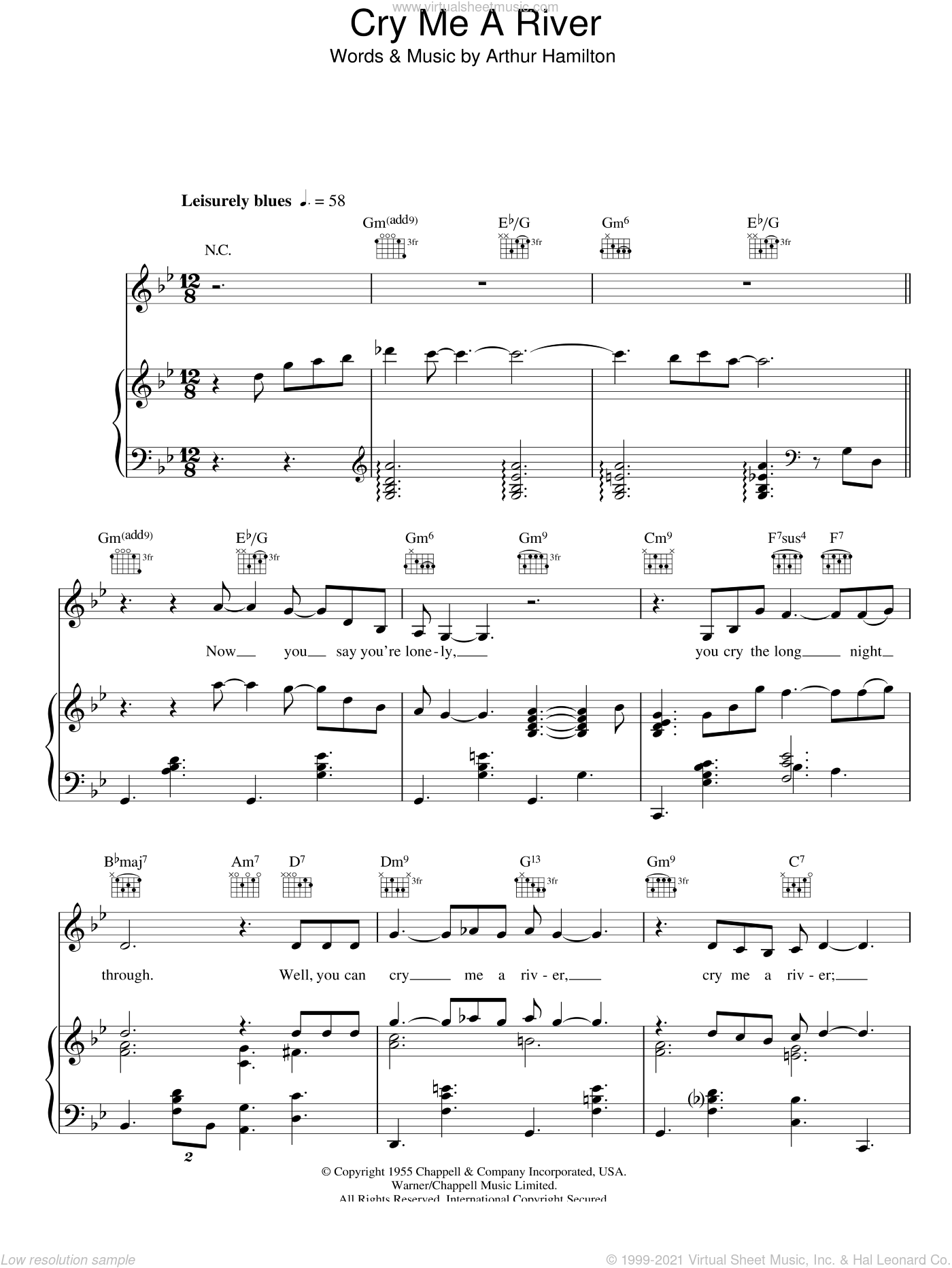Cry Me A River sheet music for voice, piano or guitar by Susan Boyle, Ella Fitzgerald, Julie London and Arthur Hamilton, intermediate voice, piano or guitar. Score Image Preview.