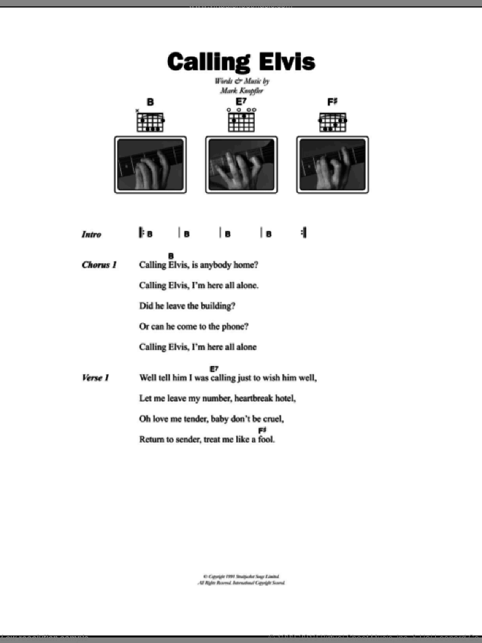 Calling Elvis sheet music for guitar (chords) by Dire Straits and Mark Knopfler, intermediate guitar (chords). Score Image Preview.