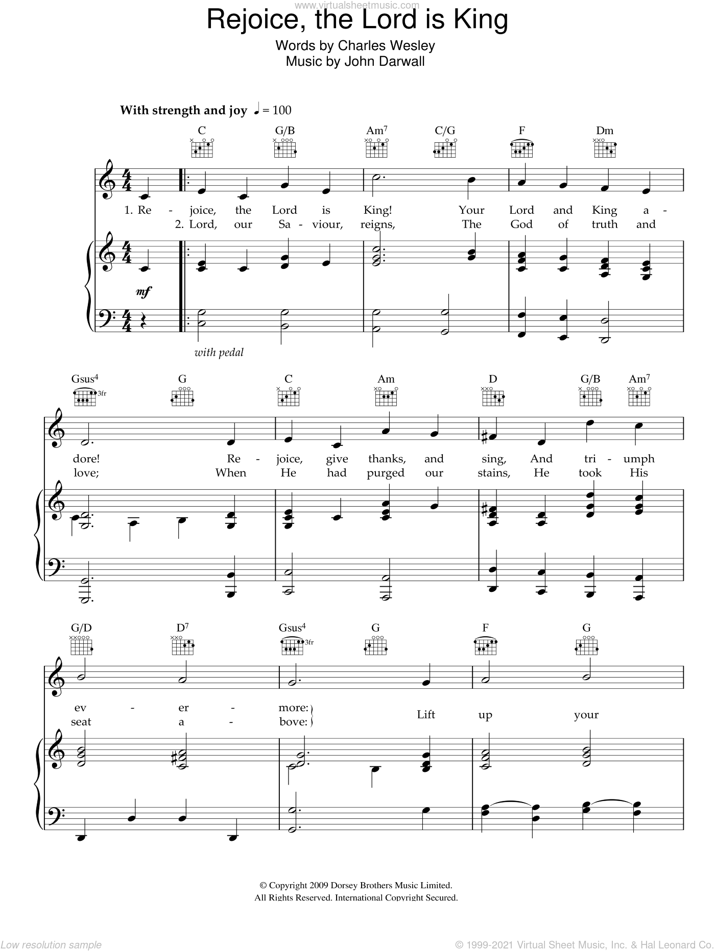 Rejoice The Lord Is King sheet music for voice, piano or guitar by Charles Wesley and John Darwall, intermediate skill level