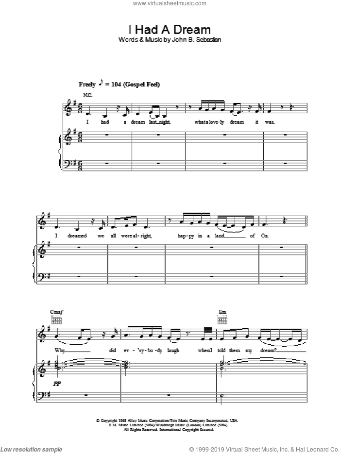 I Had A Dream sheet music for voice, piano or guitar by Joss Stone. Score Image Preview.