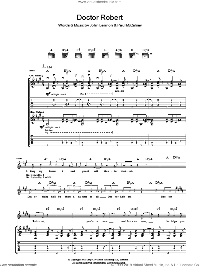 Doctor Robert sheet music for guitar (tablature) by Paul McCartney, The Beatles and John Lennon. Score Image Preview.
