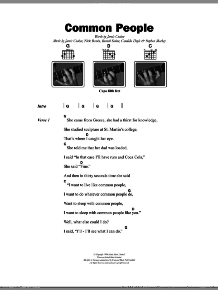 Common People sheet music for guitar (chords) by Pulp, Candida Doyle, Jarvis Cocker, Nick Banks, Russell Senior and Stephen Mackey, intermediate. Score Image Preview.