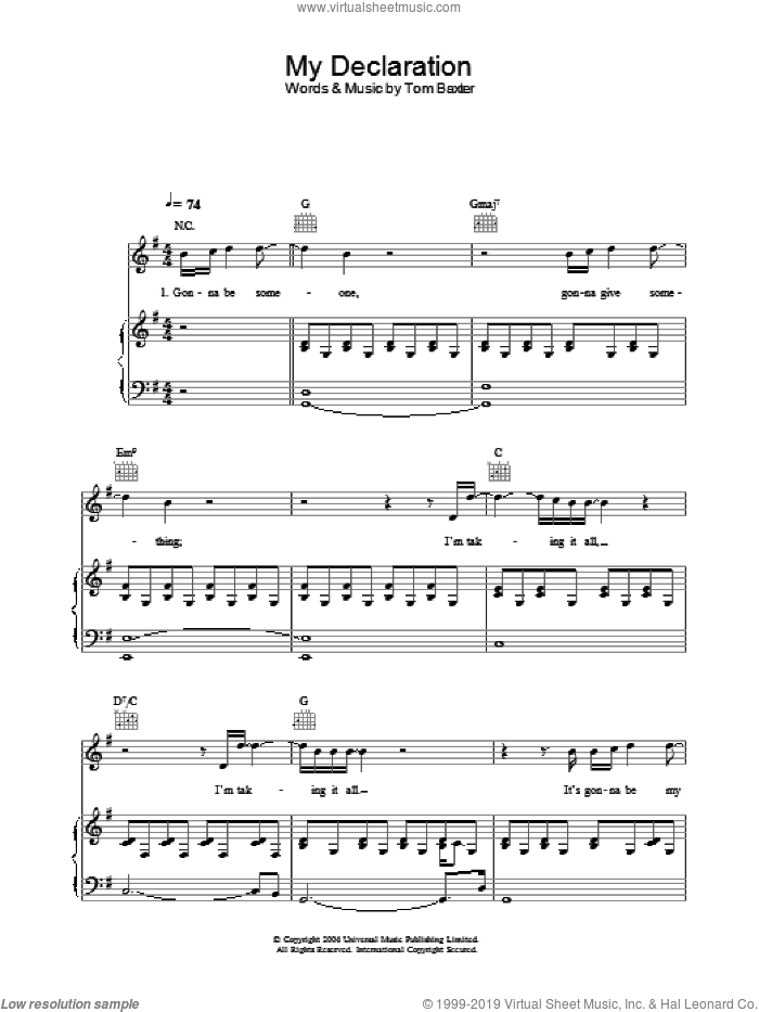 My Declaration sheet music for voice, piano or guitar by Tom Baxter. Score Image Preview.