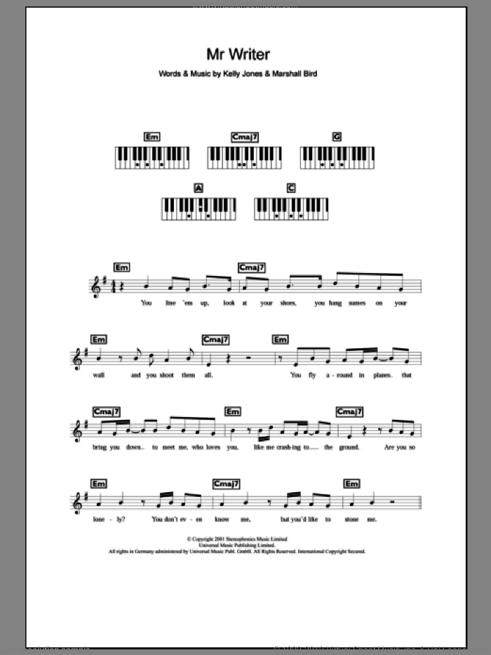 Mr. Writer sheet music for voice and other instruments (fake book) by Stereophonics, Kelly Jones and Marshall Bird, intermediate skill level
