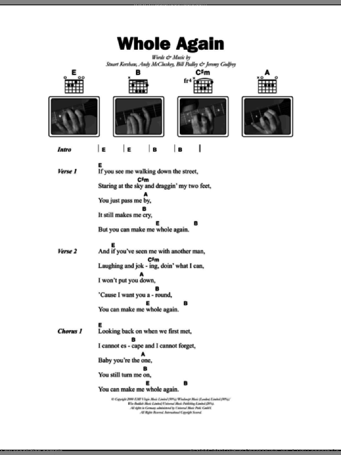 Whole Again sheet music for guitar (chords) by Stuart Kershaw, Atomic Kitten, Andy McCluskey, Bill Padley and Jem Godfrey. Score Image Preview.