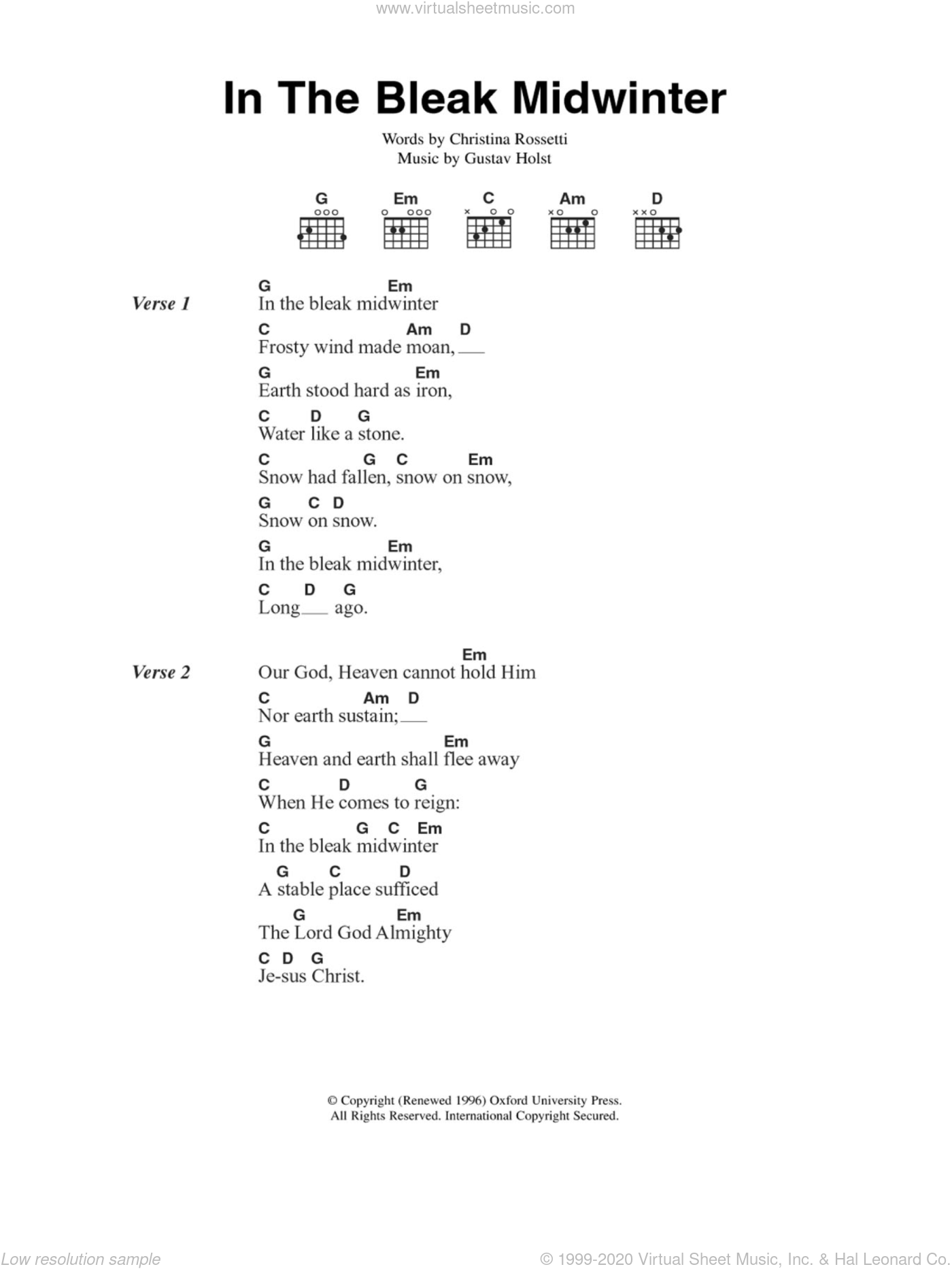 In The Bleak Midwinter sheet music for guitar (chords, lyrics, melody) by Christina Rossetti